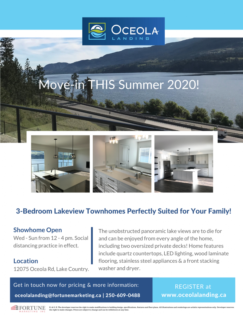 Move-in Ready Lakeview Townhomes in Lake Country, BC