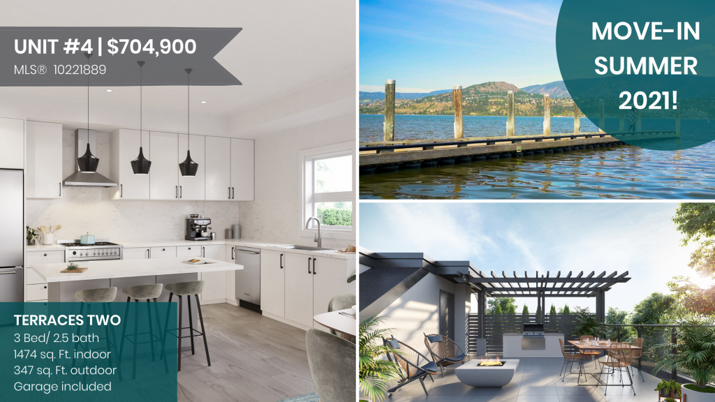 3 bedroom townhomes with a rooftop terrace in Kelowna, BC